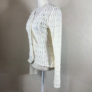 BKE Sweaters - BKE Boutique NWT cream lace open cardigan Medium